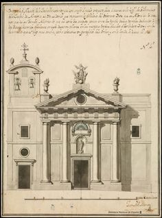 ARCHITECTURE AND ACADEMY. THE TRIUMPH OF CLASSICISM AND THE STANDARD   projects and models. The eloquence of the standard  MUNAR, Juan Antonio   Project for the Church of San Francisco in Almeria. Spelling, or elevation, the external facade ... (1791)    drawing on brown paper laid paper: pen, brush, compass, pencil graphite, black ink, gouache blue and gray line frame 430 x 316 mm, in h. of 439 x 325 mm.   Barcia n. No. 1402.