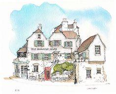 Rye Pub | Chris Lee Travel Sketchbook, Watercolor Sketchbook, Pen And Watercolor, Watercolor Paintings, Watercolours, Watercolor Architecture, Architecture Sketchbook, Drawing Sketches, Drawings