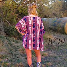 We can't get enough of this edgy kimono! Layers wonderfully over tanks to add a bohemian vibe to your outfit!   Chic Lightweight woven cardigan with open front. Pop of neon tribal pattern.  Made in USA, 100% polyester