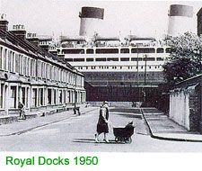 Royal Docks 1950 - white liners appearing opposite The Highway were so exciting… Victorian London, Vintage London, Old London, London History, Local History, Old Pictures, Old Photos, Vintage Photos, London Docklands
