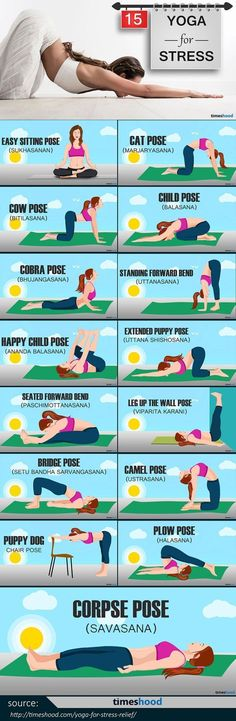 Easy Yoga Workout - The Best Restorative Yoga Poses to Relieve Stress and keep healthy and mentally stable. Instant Relaxation is just a few deep breaths away. Here are 15 easy yoga pose for stress relief you can do anytime anywhere. These Yoga Poses als Fitness Workouts, Yoga Fitness, Fitness Plan, Fat Workout, Easy Fitness, Fitness Diet, Female Fitness, Training Fitness, Kids Workout