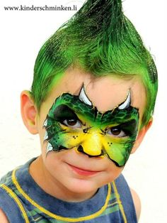 I'm so obsessed with face painting, and i really like the coloured hair Dinosaur Face Painting, Monster Face Painting, Dragon Face Painting, Face Painting For Boys, Face Painting Designs, Paint Designs, Dinosaur Mask, Balloon Painting, Belly Painting