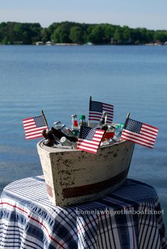 Anchors Aweigh and nautical fun with a boat beverage cooler at the lake | homeiswheretheboatis.net