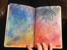 Smush something colorful onto this page, wreck this journal Smushed oil pastel shavings