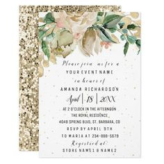 Bridal Shower Flower Brunch Greenery White Glitter Invitation Business Cards Layout, Beauty Business Cards, Gold Business Card, Simple Business Cards, Brunch Invitations, Bridal Shower Invitations, Bridal Shower Flowers, Elegant Bridal Shower