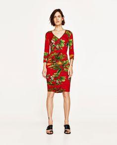 ZARA - WOMAN - DRAPED TROPICAL PRINT BODYCON DRESS