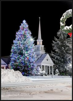 Christmas Night in Snow, Highlands United Methodist Church - Highlands, North Carolina