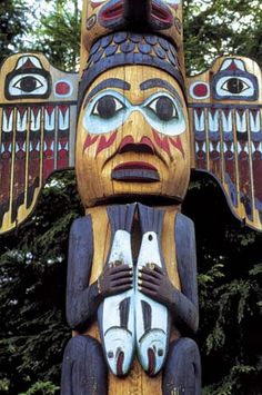 A detail from a totem pole shows Fog Woman, wife of the Northwest Coast culture hero Raven, holding two salmon.