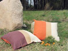 Купить Диванные подушки «Осень».100% лен. - разноцветный, коричневый, молочный, оранжевый, диванные подушки