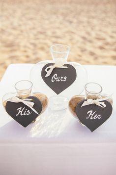 Sand Wedding Ceremony -- See the wedding here: http://www.StyleMePretty.com/destination-weddings/2014/04/08/a-seaside-italian-wedding/  on #smp
