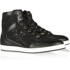 Jimmy Choo Lace and leather sneakers ($348) ❤ liked on Polyvore featuring shoes, sneakers, jimmy choo, black, jimmy choo sneakers, black trainers, lace trainers, black shoes and lace sneakers