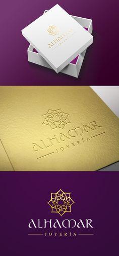 """Diseño de logotipo para Alhamar, una tienda de joyas y bisutería marroquí situada en la Alcaicería de Granada (antiguo zoco musulmán de la ciudad). El icono es una figura ornamental que recuerda una flor y que está creada a partir de 8 """"pétalos"""" con forma de corazón que se mezclan entre sí, creando una especie de mandala."""