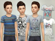 The Sims Resource: T- Shirt Collection for Boys P05 by lillka • Sims 4 Downloads