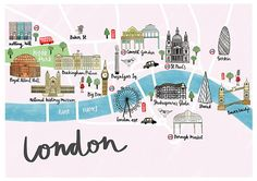 London Illustrated Map – London Map Poster – Watercolour Art Print – Map of London Print – Watercolour Map – British Map Poster - Modern Central London Map, London Drawing, London Sketch, London Icons, London Poster, London Tattoo, Watercolor Map, City Maps, Travel Maps