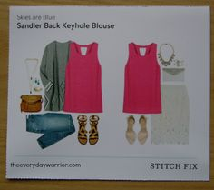 Stitch Fix Stylist - This bright pink keyhole Blouse is so cute! Definitely a fun pop of color for summer and would look great with white or dark jeans!