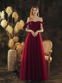 Cheap Formal Gowns, Formal Dresses For Weddings, Cheap Prom Dresses, Burgundy Evening Dress, Burgundy Dress, Evening Dresses, Champagne Homecoming Dresses, Custom Dresses, Dress And Heels