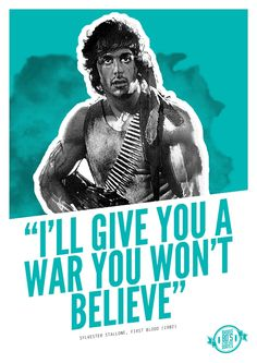 Badass 80's Action Movie Quotes - Rambo: First Blood Art Print by ...