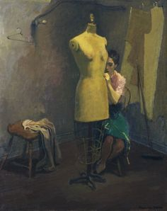 raphael soyer. seamstress 1950/60s. oil on canvas
