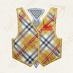 Vest and Tie with or without Pocket Square Applique Embroidery Design INSTANT DOWNLOAD for DIY projects, from Designed by Geeks. Use vinyl & other materials for Silhouette projects, Cricut projects, Brother ScanNCut projects. No desktop plotter or cutting machine? Use a printer & photo transfer paper! Instructions included.  This is a set of vest and tie appliqué designs, one with and one without the pocket square. Great for a baby onesie or bodysuit.