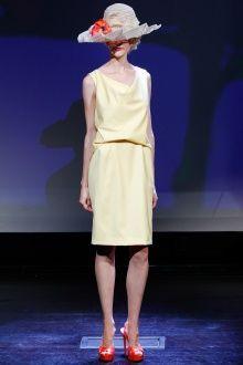 cap, Douglas Hannant spring 2013, yellow dress, model