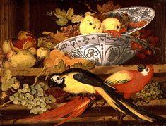 Balthasar van der Ast (Dutch, c.1593-1657) -  Still Life with Fruit and Macaws 1622