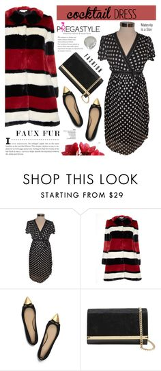 """""""Cocktail dress.faux fur coat - Pregastyle 22"""" by cly88 ❤ liked on Polyvore featuring Motherhood Maternity, Alice + Olivia, Tory Burch, Ted Baker and Azhar"""