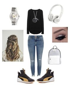 """Untitled #218"" by angeliqueamor on Polyvore featuring River Island, Puma, Juvia, Poverty Flats, Disney and Swatch"
