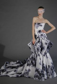 bold patterned wedding dress