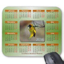 Exotic Birds Series 2106 Calendar Mouse Pad
