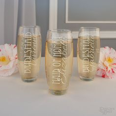 Stemless Champagne Flutes Personalized with Your Choice of Our Bridal Monogram Design & Font Combinations (Each - Engraved) by DesignstheLimit on Etsy