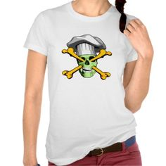 Zombie Skull v17 Shirt. Green zombie skull wearing puffy chef hat, impaled by yellow orange crossbones entering through the eye sockets and exiting out the mouth.