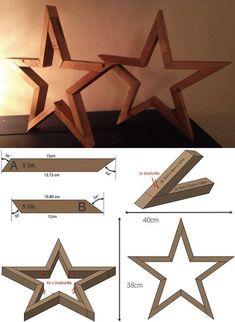 stern-aus-holz-basteln_tisch-und-sideboard-dekorieren-mit-diy-holzsternen #woodcrafts #woodcraftprojects