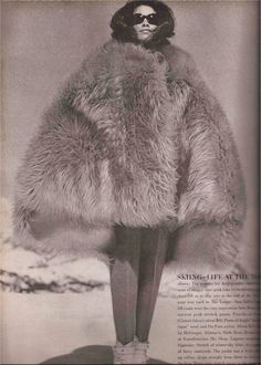 Shaggy Pure-Pink Fake Fur Poncho by McGregor Vogue's Eye View: The Girl Who Went Out In The Cold  Skiing - At The Top Photography: Peter Beard Vogue November 1964