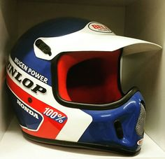 George Holland Helmet Replica Motocross Helmets, Motorcycle Helmets, Vintage Motocross, Vintage Racing, Custom Helmets, Custom Bikes, Bell Moto 3, Motocross Kit, Arai Helmets