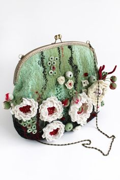 Evening pouch Pouch with flowers  Pouch bright  от effeminacy, $200.00