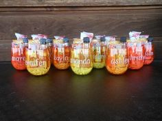 Just In Case Girls' Weekend 2013 Gift Kit: Wine glass w/ name, Burt's Bees lip balm, gum, snack bar, antibac soap, EmergenC, Deep Eddy Ruby Red vodka shot.