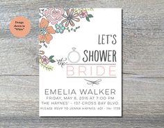 Printable bridal shower invitation  by JuneArborDesigns  www.etsy.com/shop/junearbordesigns #wedding #floral r #bridalshower #weddingshower #shower #bride  #DIYinvite #printableinvitation #weddingprintable