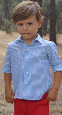 Camisa niño rayas azules y blancas Ancar
