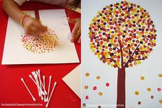 Paint a simple rectangular trunk and then some branches out from the trunk with the q-tip. Dot on leaves in different colors. (Draw a circle around the trunk in light pencil if you want a circle shape for the leaves.)