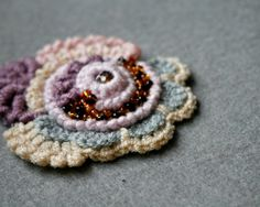 OOAK freeform crochet brooch, textile art by byMarianneS on Etsy