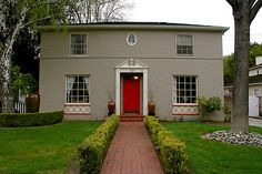 I am repainting the shutters/door on my house...shutters will be grey and door is going to be RED!!  Can't wait!