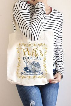 Beauty And The Beast Bag | Beauty And The Beast Gift | Belle's Book Cafe | Belle Bag | Book Lover Tote | Gift For Her | Tote Everyday Bag