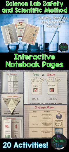 Science Lab Safety and Scientific Method Interactive Notebook Pages Bring engaging and interactive activities into your classroom with these science notebook pages. This resource contains 20 different interactive notebook activities covering safety, metri 6th Grade Science, Middle School Science, Elementary Science, Science Classroom, Teaching Science, Science Education, Science Activities, Interactive Activities, Lab Safety Activities