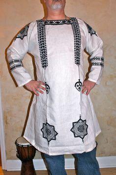 Coptic Star Tunic: Comes in black or white embroidery thread color.