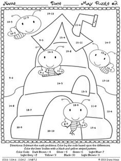 """May: Math """"May""""hem ~ Spring Math Printables Color By Codes Puzzles Kindergarten Math Worksheets, Maths Puzzles, Worksheets For Kids, 4th Grade Multiplication, Math Charts, Color By Numbers, Busy Book, Addition And Subtraction, Coloring Pages"""