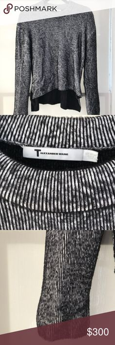 T by Alexander Wang Ribbed Knit Sweater This is a T by Alexander Wang Ribbed Knit Sweater with thin black and white vertical stripes. It is a thick and slightly heavy sweater that is very very warm. It is made of 57% Rayon and 43% Nylon. It has only been worn 3x.  SIZE: M COLOR: BLACK + WHITE, but reads more black from afar Alexander Wang Sweaters Crew & Scoop Necks