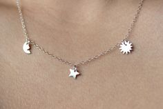 Silver Moon Star Sun Necklace  Sterling Silver by JwJSilver, $39.00