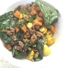 Nooner!!! Happy place in my tummy sponsored by all the vegetables!  1. Green of Beet greens carrots cauliflower & onions.  2. Yellow of sweet potatoes.  3. Red of ground beef.  4. Up next a blue of mixed nuts and an afternoon cup of coffee to make this Friday funky!  2 spots left in my February accountability & fitness/nutrition training program!  Going fast! (Bonus: You will get pics of how I prep every meal & start using our brand new challenger & coach app which I believe will be crazy…