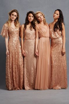 Chic Romantic Bridesmaid Dresses to mix and match. TIP: Combine gowns in similar shades of blush and peach using a range of fabrics such as tulle, sequin and silk in different silhouettes for the perfect look. Same, but different. http://www.confettidaydreams.com/chic-romantic-bridesmaid-dresses/