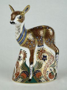 Royal Crown Derby ~ Porcelain Figural fawn ~ Aprox. 5 1/2 inches long